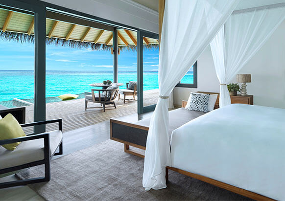 Beach front villas at Vakkaru Resort Maldives
