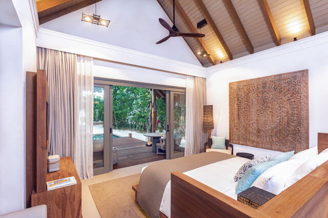 Beach Villa bedroom room with beach front terrace