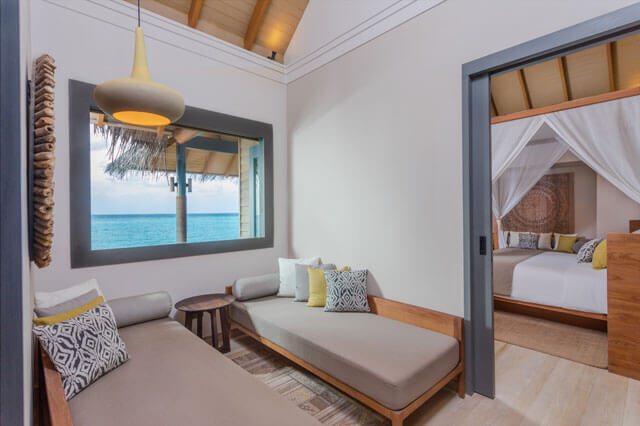 Vakkaru Maldives Over Water Family Pool Villa reading area