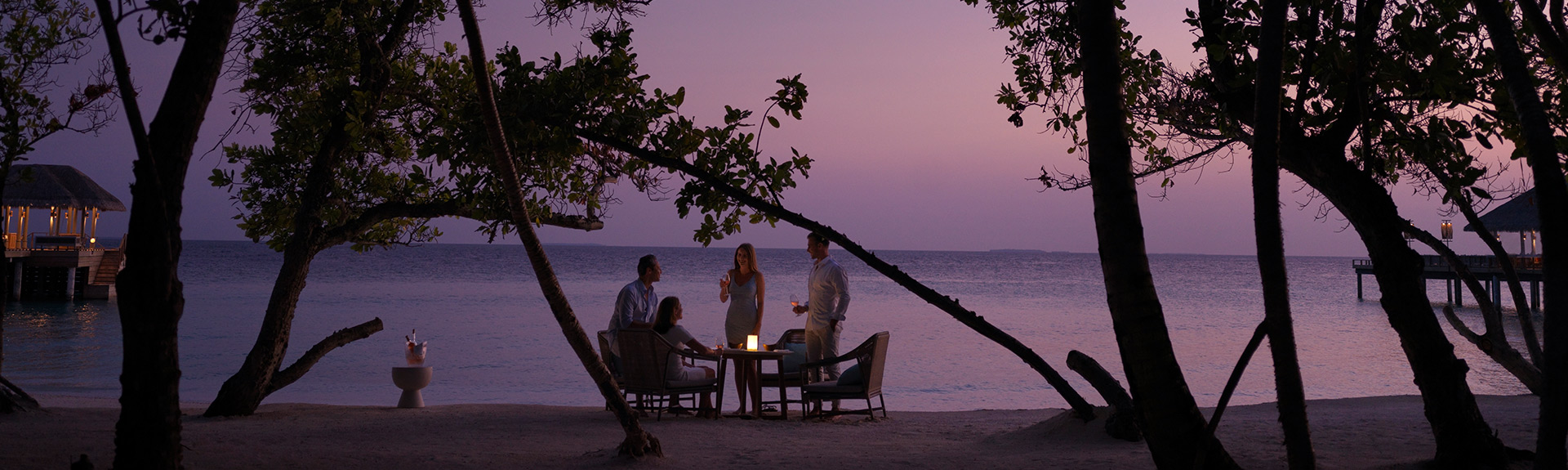 Guests having a luxury island dining