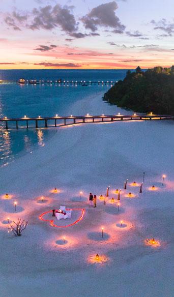 Romantic dinner setup by the ocean