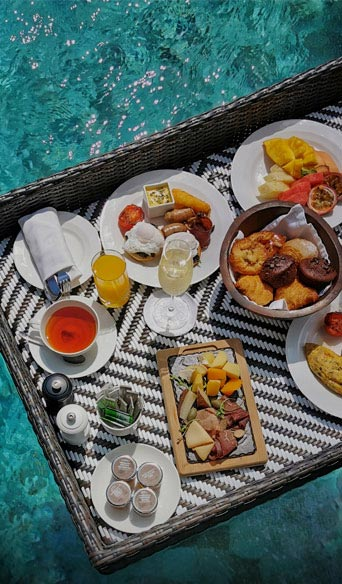 Floating breakfast served in a private pool